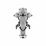 Elaborate Cross with Filligree Embellishments Decal