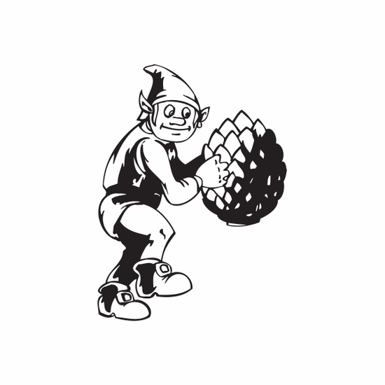 Elf with Pinecone Decal
