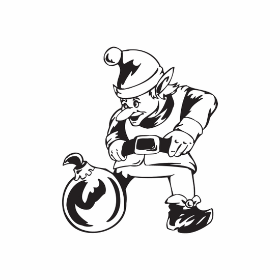 Elf Looking at Ball Ornament Decal