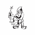 Elf with Decorated Tree Decal