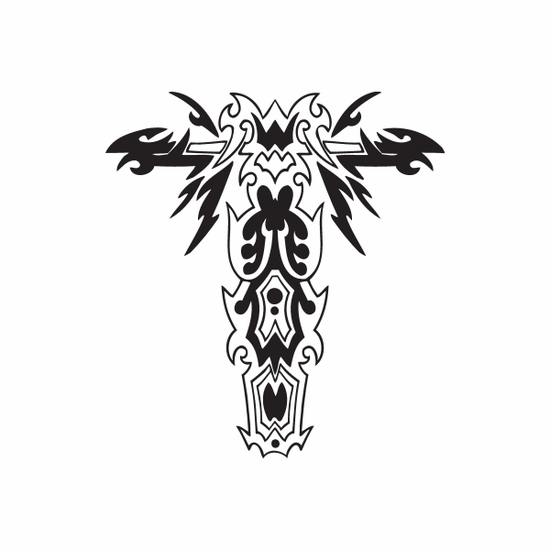 Ornate Winged Cross Decal