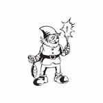 Elf with Sparkler and Ornament Decal