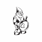 Elf with Tree Ball Ornament Decal