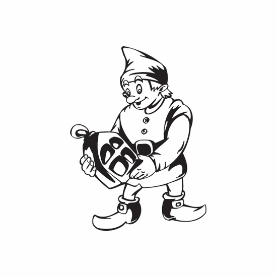 Elf Holding House Ornament Decal