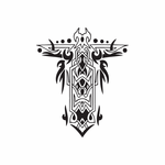 Elaborate Cross Decal with Tribal Flames Decal