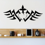 Heart with Cross and Tribal Wings Decal