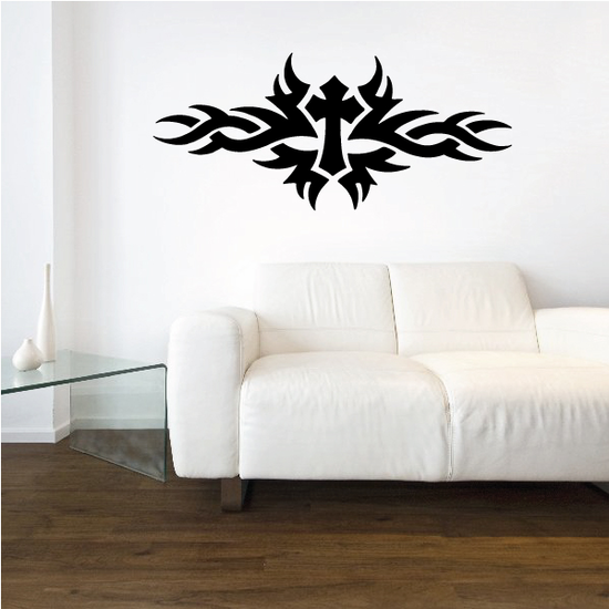 Cross with Tribal Fire Decal