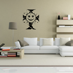 Cross with Happy Face Decal