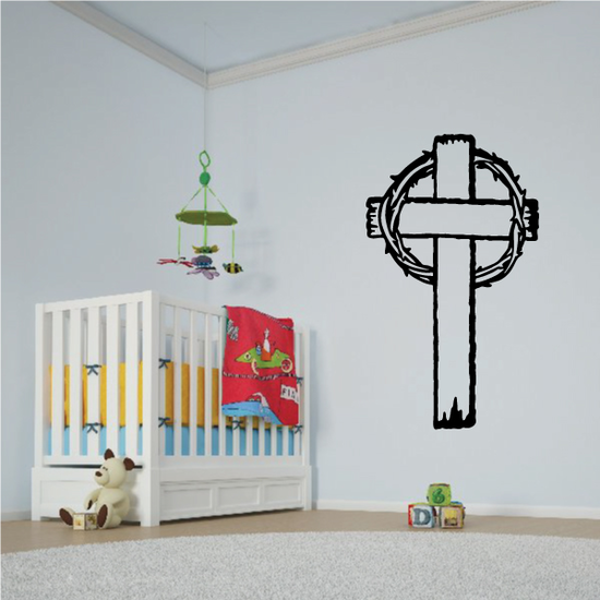 Cross with Crown of Thorns Decal