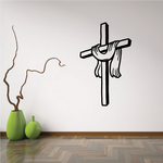 Cross with Draped Ribbon Decal