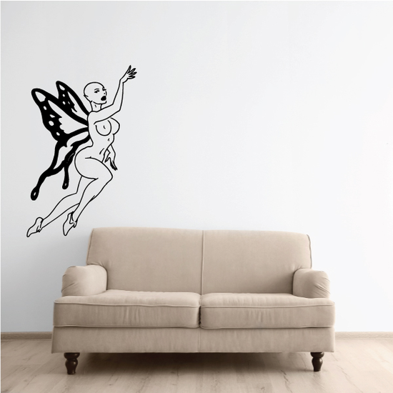 Flying Hairless Butterfly Fairy Decal