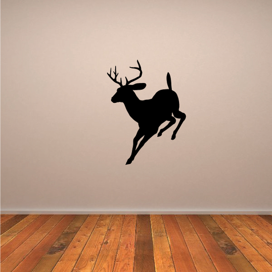 Graceful Deer Buck Running Silhouette Decal