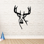 White Tail Deer Antler Head Decal