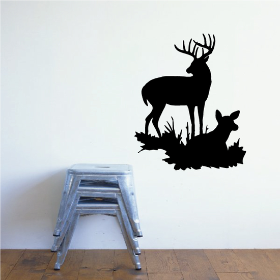 Family Deer Buck and Fawn on Grass Decal