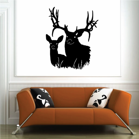 Family Deer Couple Looking Decal