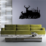Family Deer Couple Watching Forest Decal