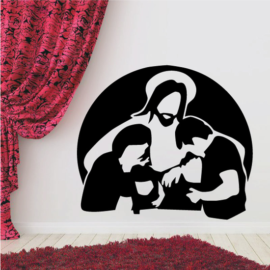 Jesus Praying with others Decal