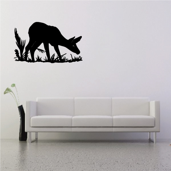 Fawn Deer and Grass Sniffing Decal