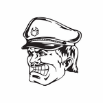 Officer with Mustache Face Decal