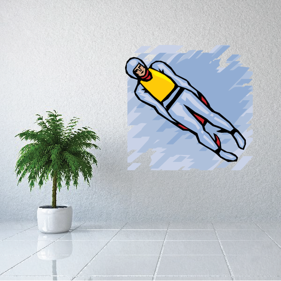 Blue and Yellow Lugeing Printed Die Cut Decal