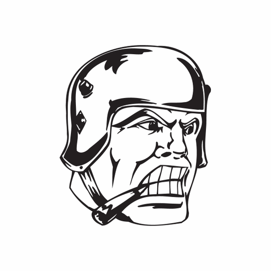 Smoking Helmeted Soldier Face Decal