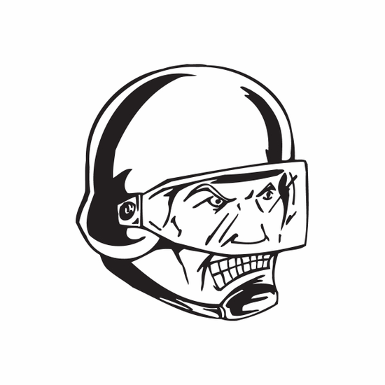 Helmeted Soldier with Visor Face Decal