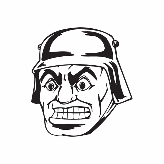 Wide Eyed Helmeted Soldier Face Decal