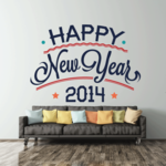 Arc Style Classic Happy New Year Printed Die Cut Decal