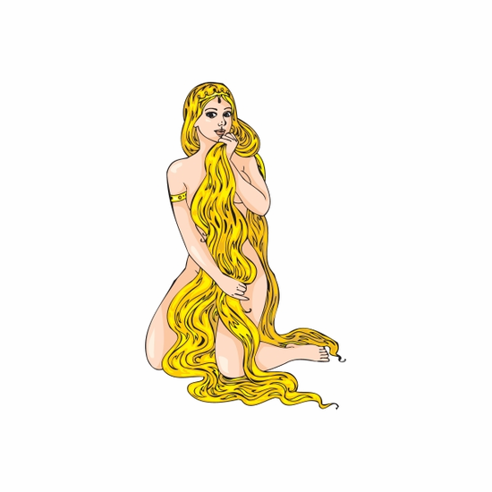 Woman with Long Hair Sticker