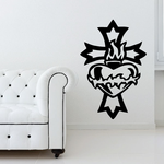 Cross With Flaming Heart Decal