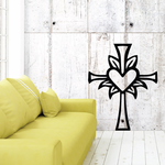 Cross with heart Decal