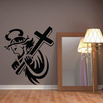 Jesus with Halo Holding Cross Decal