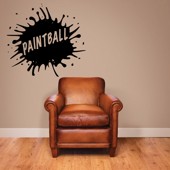 Paintball Text Paint Splatter Decal