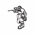Crouching Kneel Paintball Player Decal