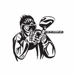 Masked Paintball Player Decal