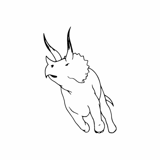Running Triceratops Outline Decal