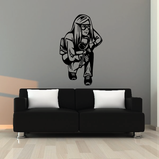 Female Paintball Player Decal