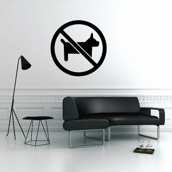 No Dogs Sign Paintball Wall Decal - Vinyl Decal - Car Decal - MC07