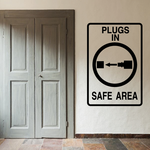 Plugs In Safe Area Sign Paintball Wall Decal - Vinyl Decal - Car Decal - MC09
