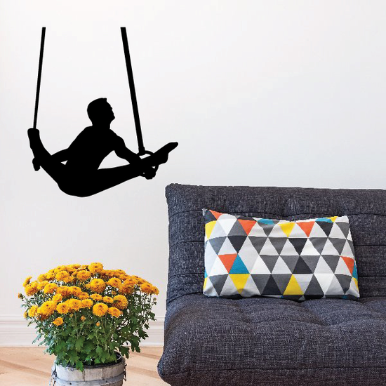 Male Gymnast on Rings Decal