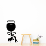 Wine Glass With Ribbon Decal