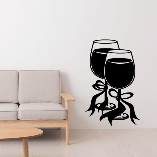 Two Wine Glasses Decal
