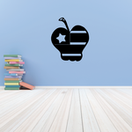 Apple Shaped America Flag Decal