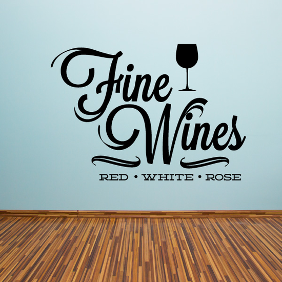 Fine Wines Red White Rose Decal