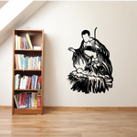 Mary Joseph and Jesus in Manger Decal