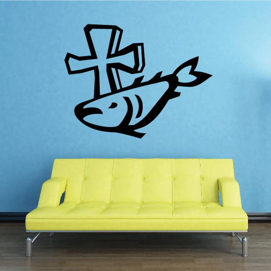 Cross with Fish Decal