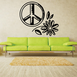 Peace Sign And Flower Decal