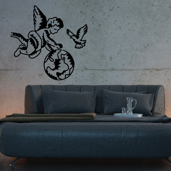Angel and Dove Watching over the World Decal
