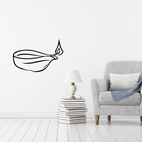 Flaming Candle Dish Decal