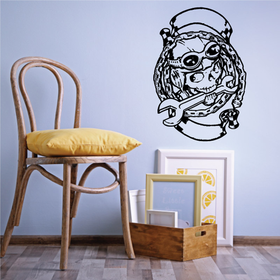 Skull with wrench banner Motorcycle - Wall Decal - Vinyl Decal - Car Decal - CD132